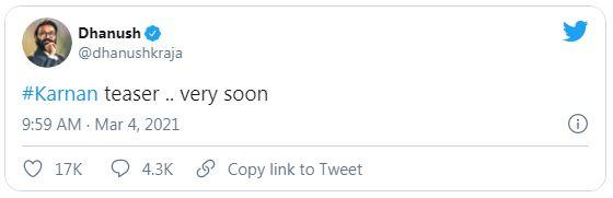 dhanush-tweet-about-karnan-teaser